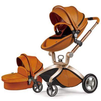 Poussette combinée 3 en 1,Hot Mom 2020 nouvelle poussette haute paysage,100% cuir PU,Angle et hauteur du siège réglables,Réversibilité,Pneu en caoutchouc PU à suspension aux quatre roues, marron