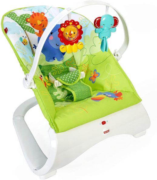 Fisher-Price Transat Amis de la Jungle vibrations apaisantes, doté d'un siège confortable et de jouets suspendus, pour bébé