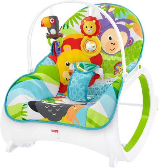 Fisher-Price Transat évolutif 2-en-1 transat bébé avec vibrations appaisantes et siège à bascule jeune enfant